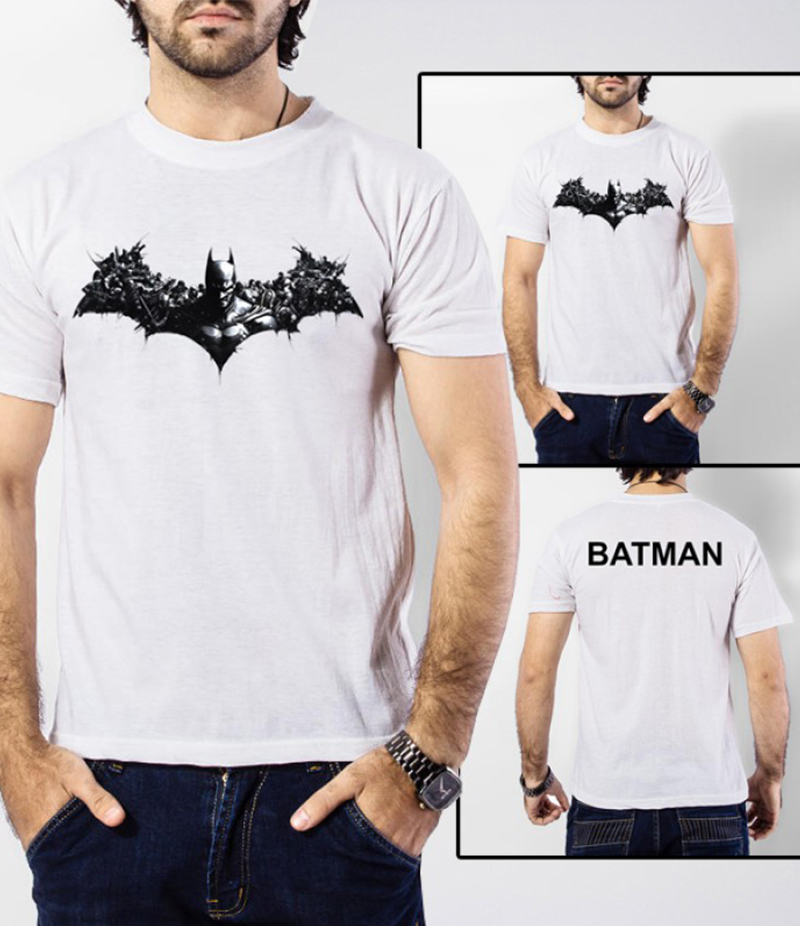 Men's White Batman Arkham Origins Printed T-Shirt. BM-901