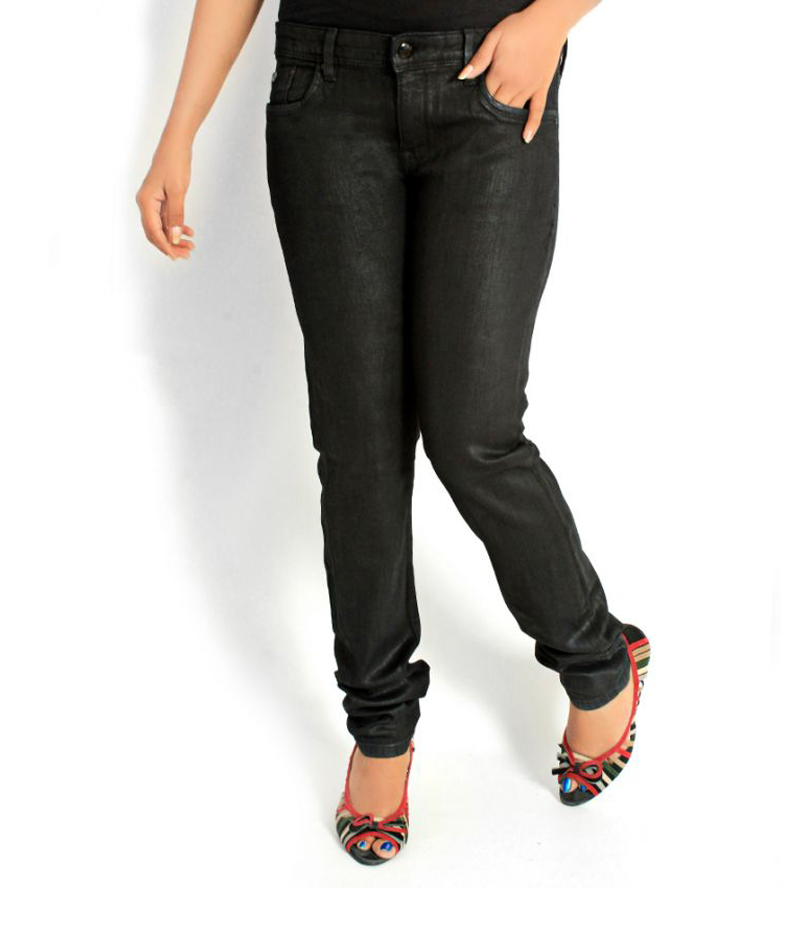 Women's Jet Black Shinny Denim Jeans. FF-0016