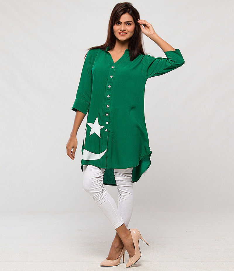 Women's Green Linen Flag Printed Kurti With White Tights. FF-14AUG2