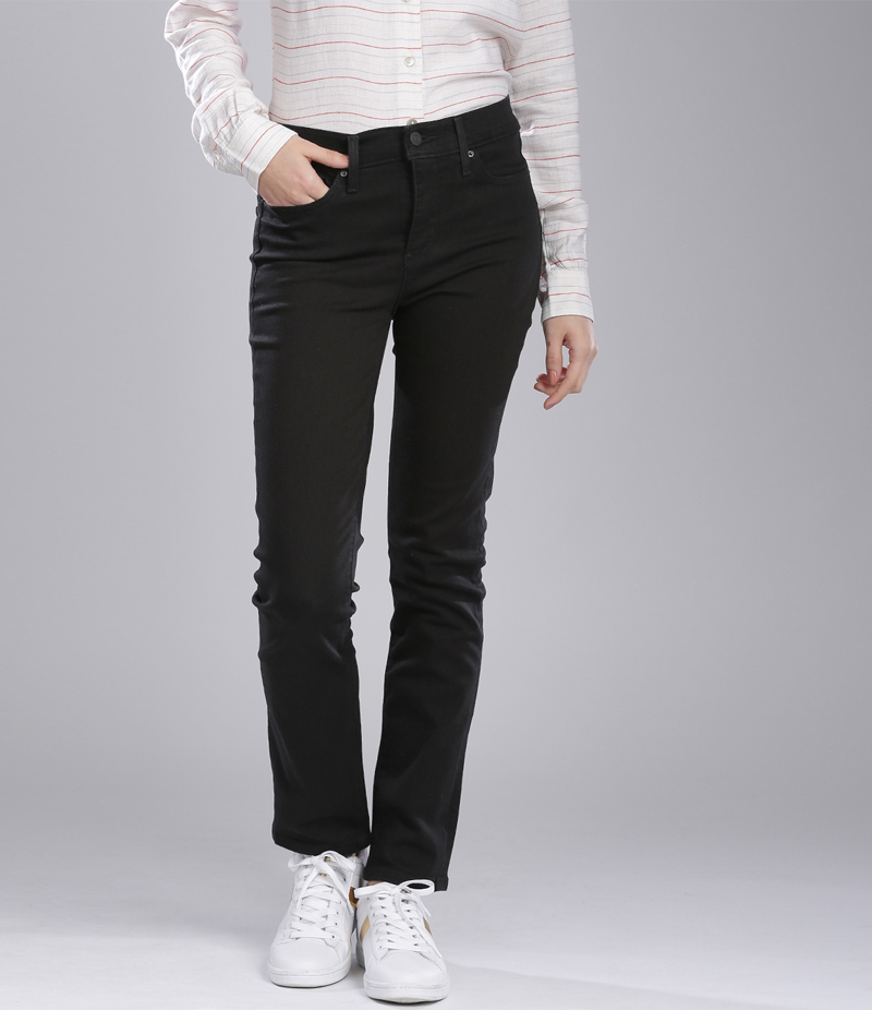 Women's Jet Black Shiner Slim Fit Jeans. FF-J001