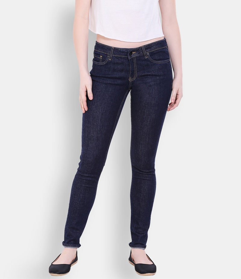 Women's Dark Blue & Shiny Black Denim Jeans. FF-JP2002