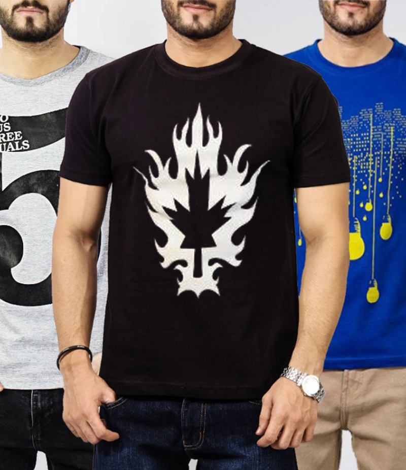 Men's Pack Of 3 Graphics Printed T-Shirts. TA-6