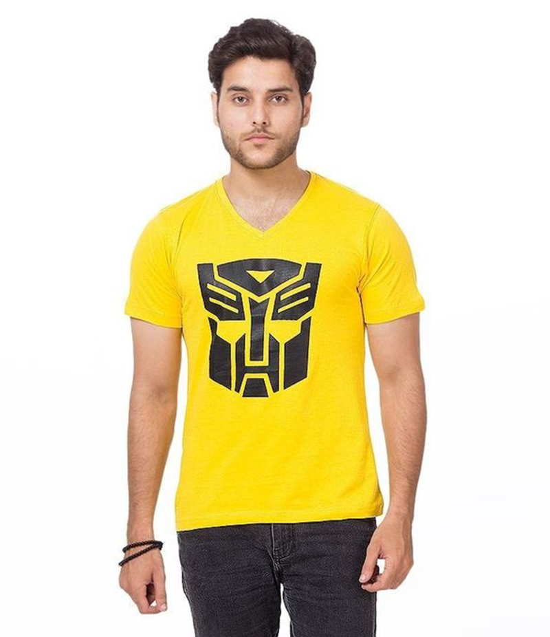 Men's Yellow Cotton Transformer Printed T-Shirt- FZ-HS-059