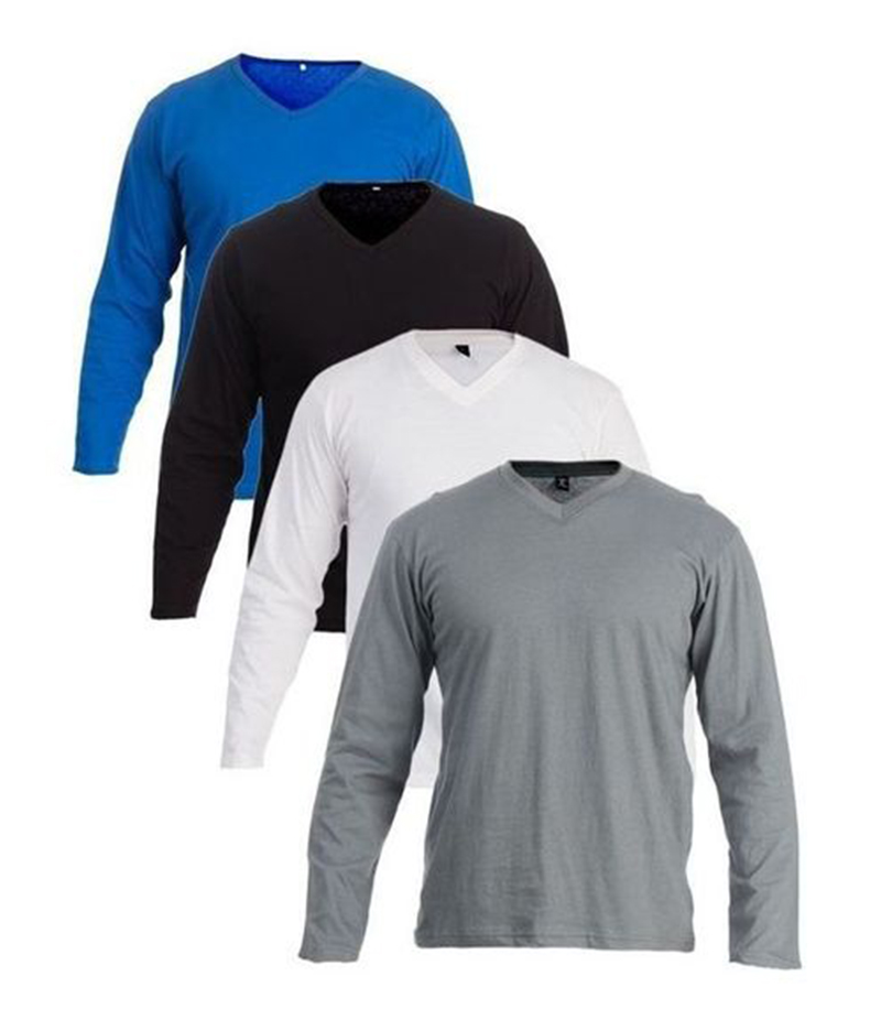 Men's Pack Of 4 V Neck Full Sleeves T-shirts. FZ-T03