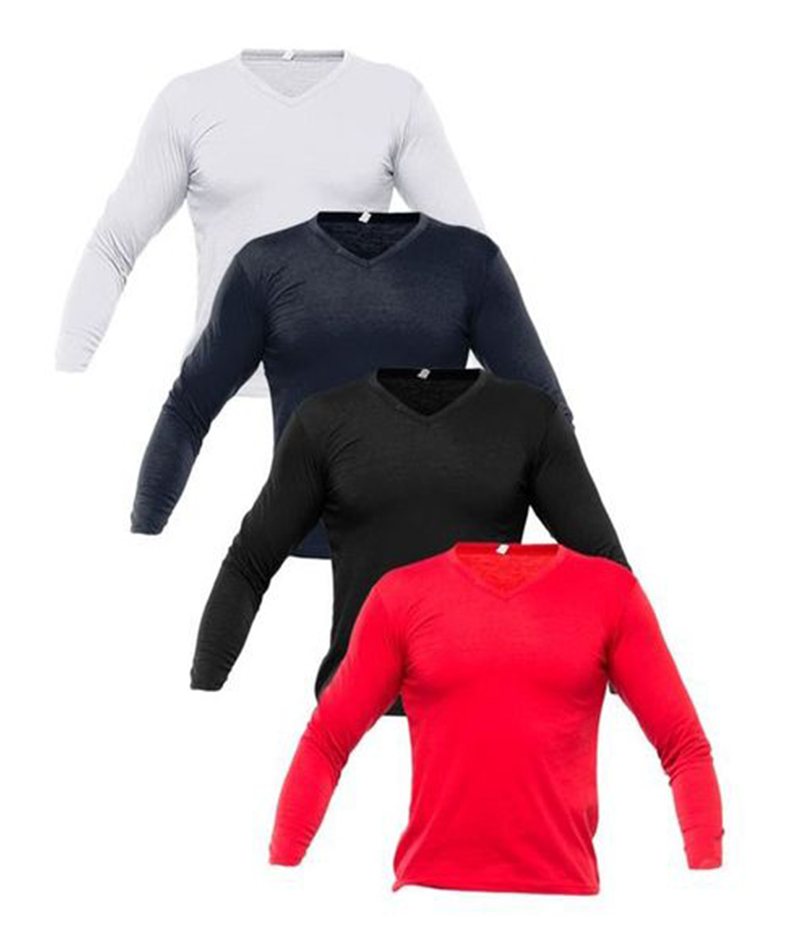Men's Pack Of 4 V Neck Full Sleeves T-shirts. FZ-T04