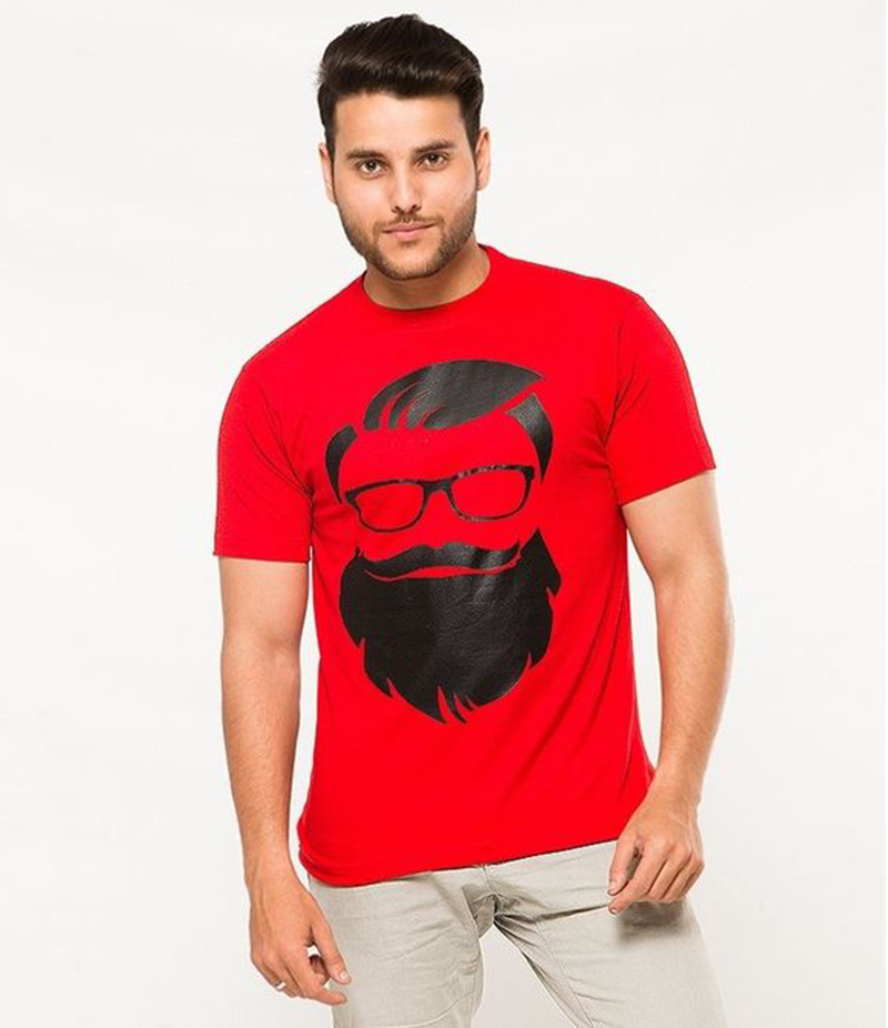 Men's Red Cotton Printed T-shirt. FZ-T108