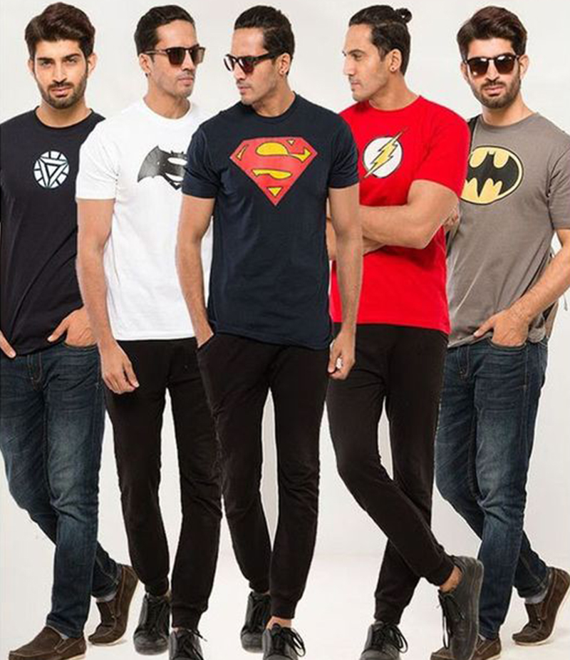 Men's Pack of 5 Super Heroes Printed T-shirts. FZ-T12