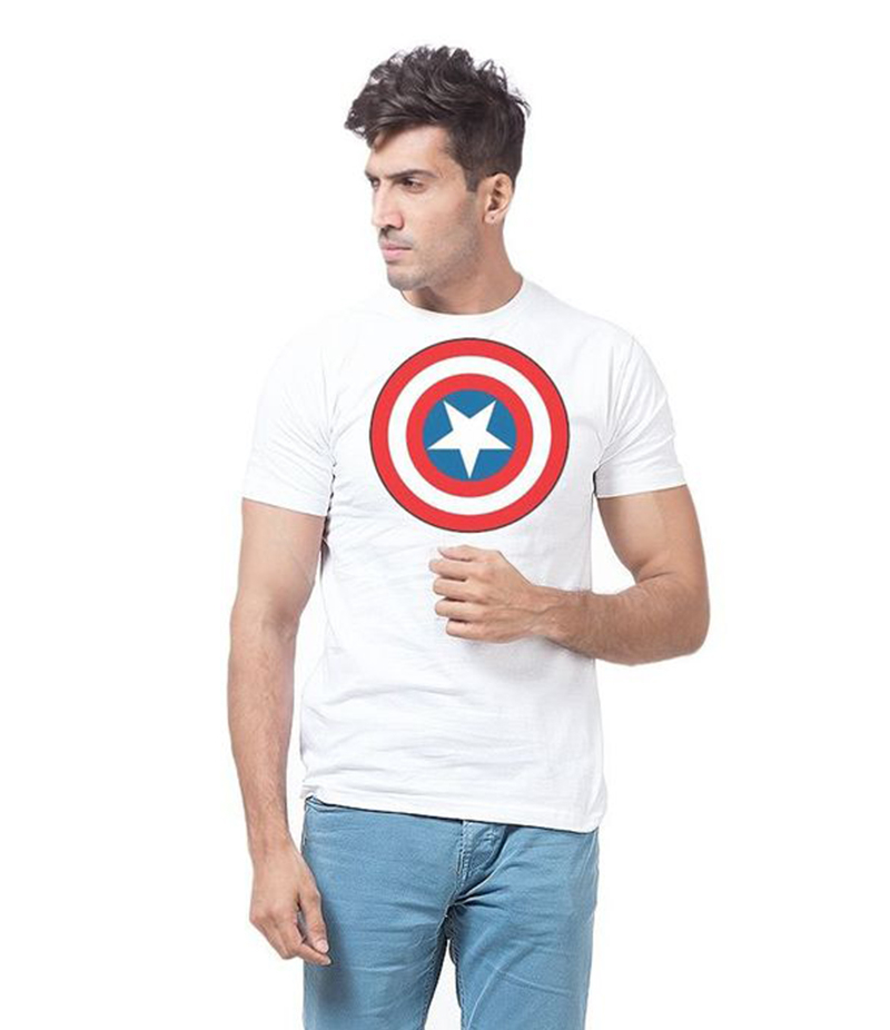 Men's White Cotton Printed T-Shirt . FZ-T124