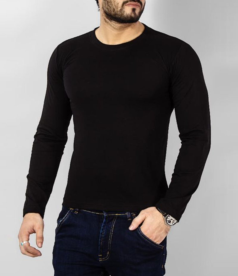 Men's Plain Black Cotton Long Sleeve T-Shirt. FZ-T129