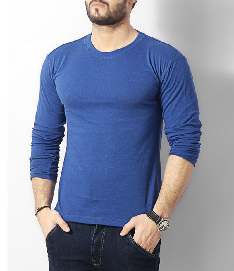 Men's Plain Royal Blue Cotton Long Sleeve T-Shirt. FZ-T132