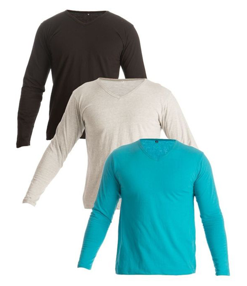 Men's Pack of 3 Multicolor Cotton T-Shirts. FZ-T140