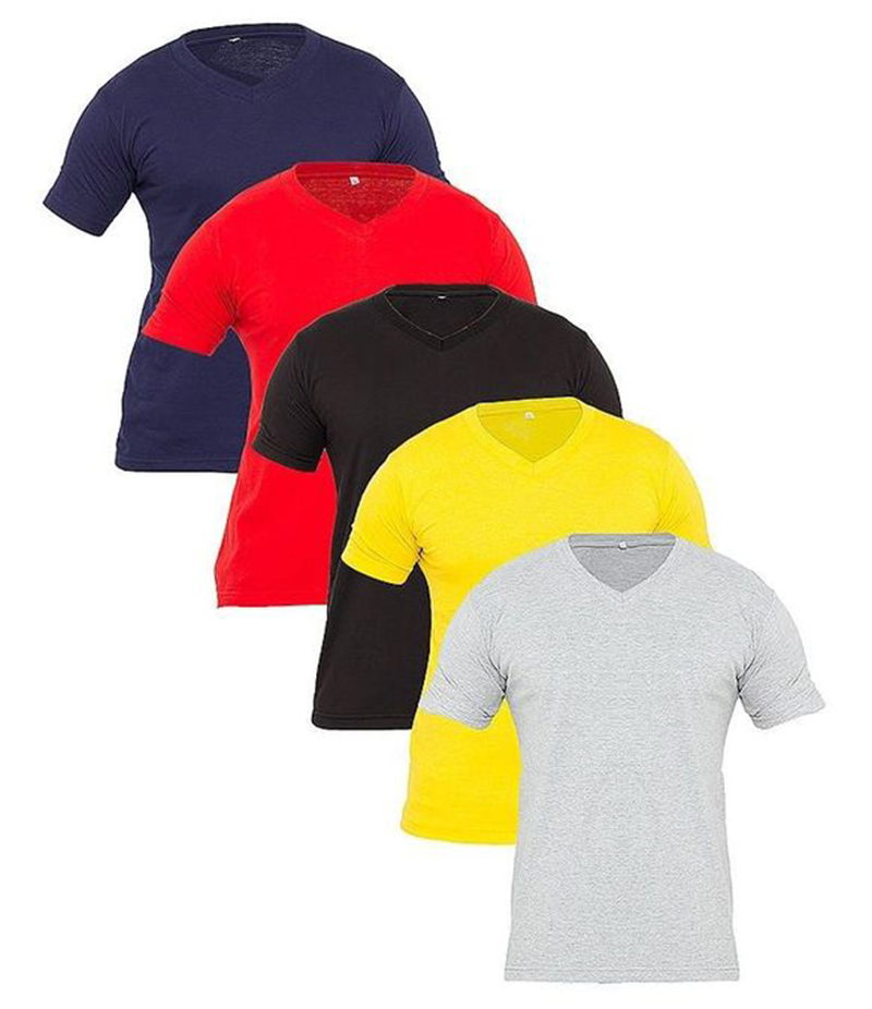 Men's Pack of 5 Multi color Cotton Plain T-Shirts . FZ-T145