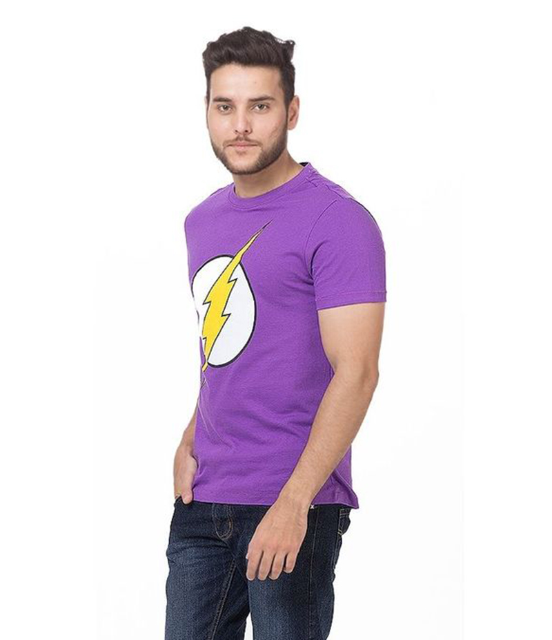 Men's Purple Printed Cotton T-Shirt. FZ-T147