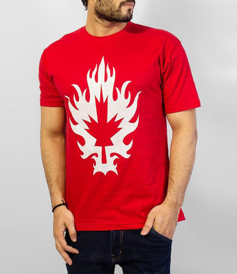 Men's Red Cotton Canadian Leaf Printed T-Shirt. FZ-T168