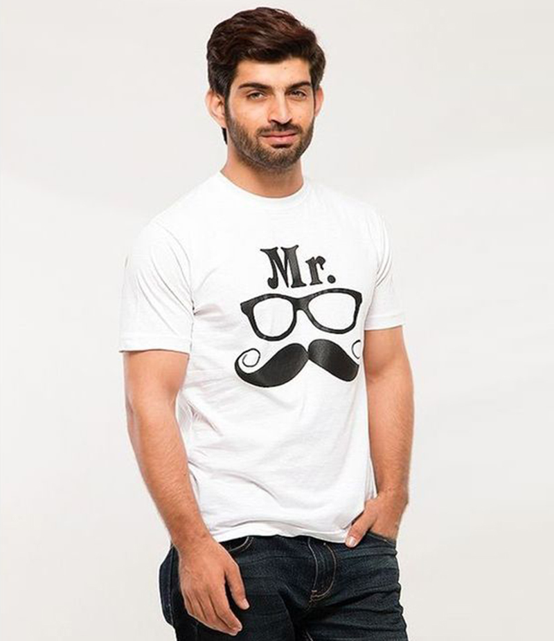 Men's White Cotton Mr. Mustache Graphics T-Shirt. FZ-T24