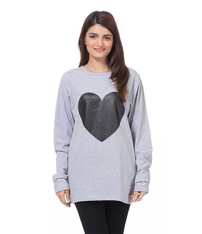 Women's Grey Cotton Heart Printed T-Shirt. FZ-T25