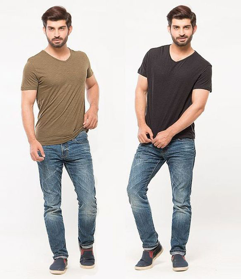 Men's Pack of 02 - V Neck Half Sleeves T Shirt. FZ-T42