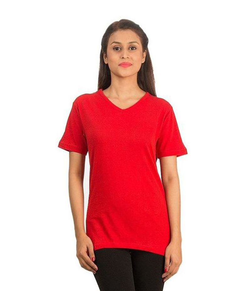 Women's  Red V-Neck T-shirt . FZ-T43