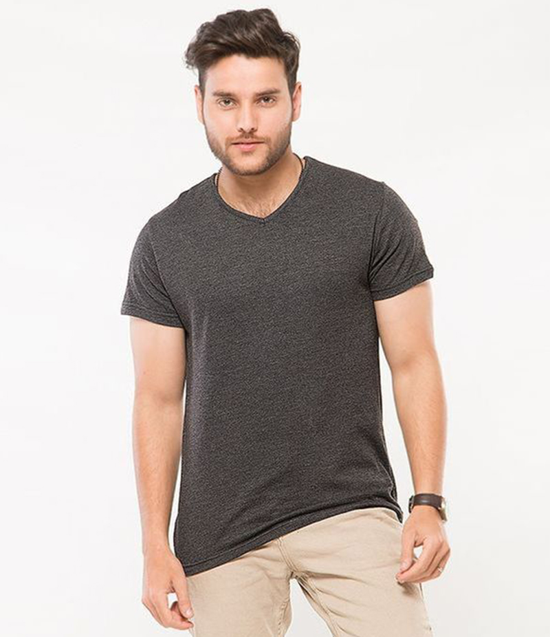 Men's Plain Charcoal V-Neck T-shirt. FZ-T57