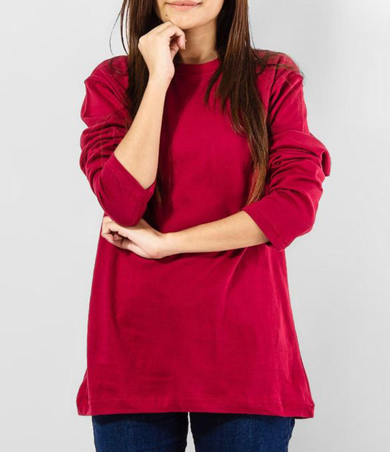 Women's Maroon Cotton T-Shirt With Full Sleeve. FZ-T58