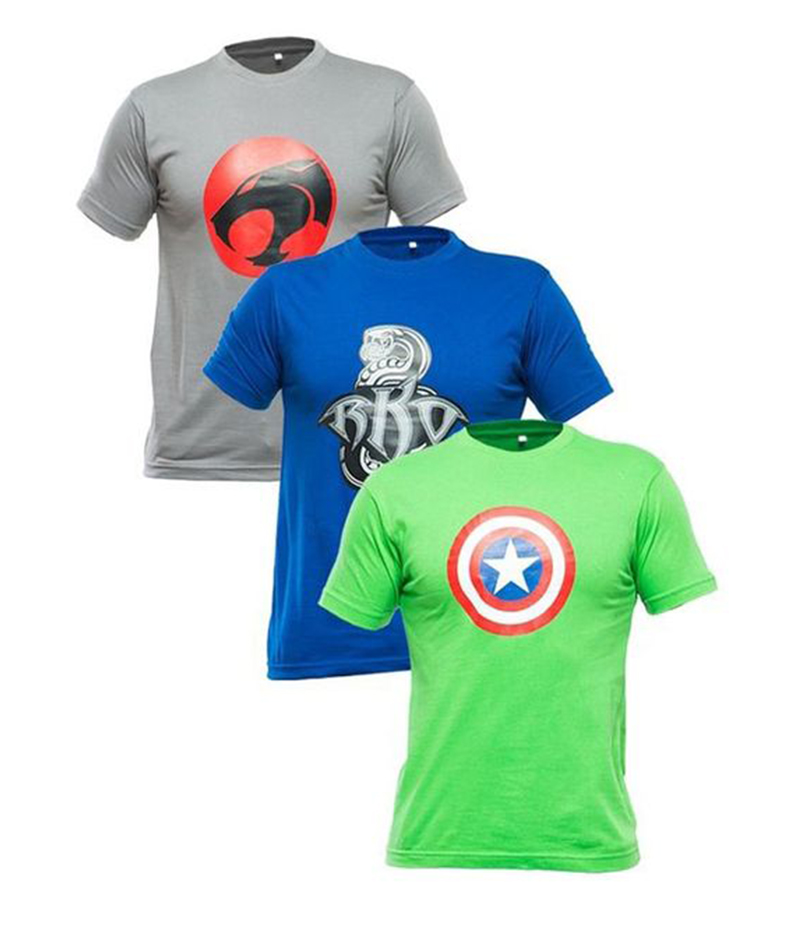 Men's Pack of 3 Multicolor Cotton Graphics T-shirts. FZ-T76