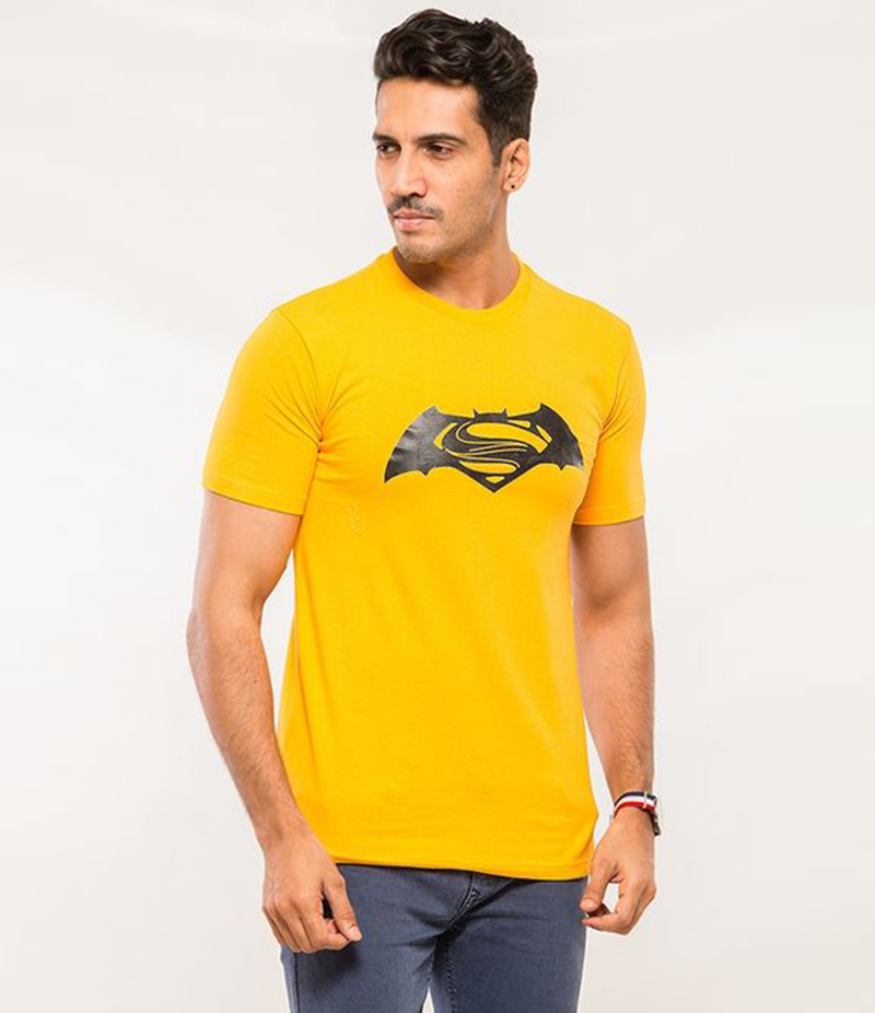 Men's Yellow Cotton Superman VS Batman T-shirt. FZ-T88