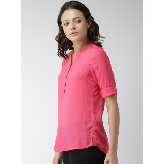Women's Pink Cotton Solid Tunic RID-623