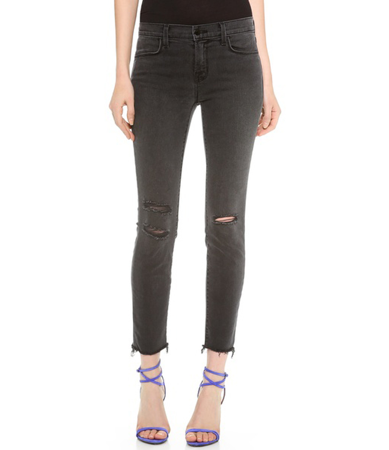 Women's Jet Black Ripped Skinny Denim Jeans. IFRJ-3905