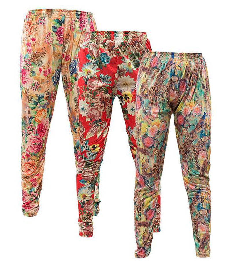 Women's Pack of 3 Floral Printed Tights. P3-FPT2