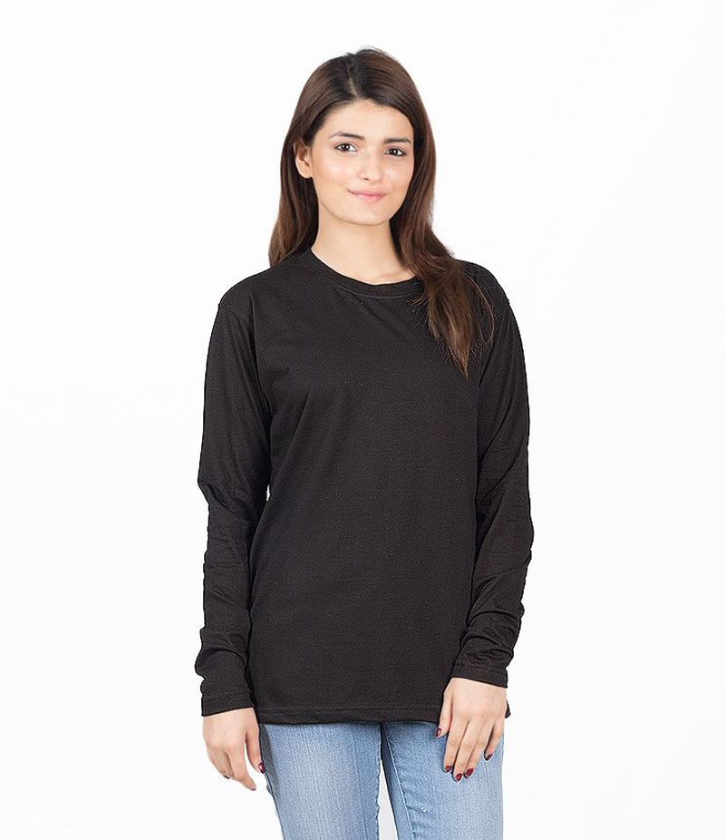 Women's Black Long Sleeve Cotton T-shirt. BLK-L01