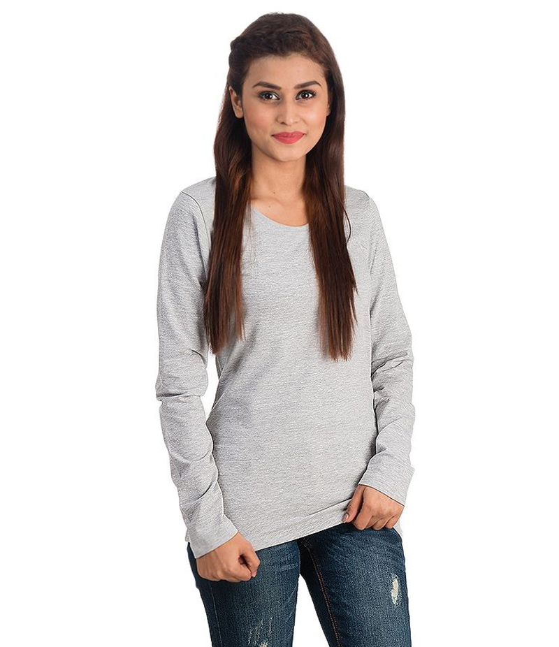 Women's Heather Grey Long Sleeve Cotton T-shirt. HGRY-L-02