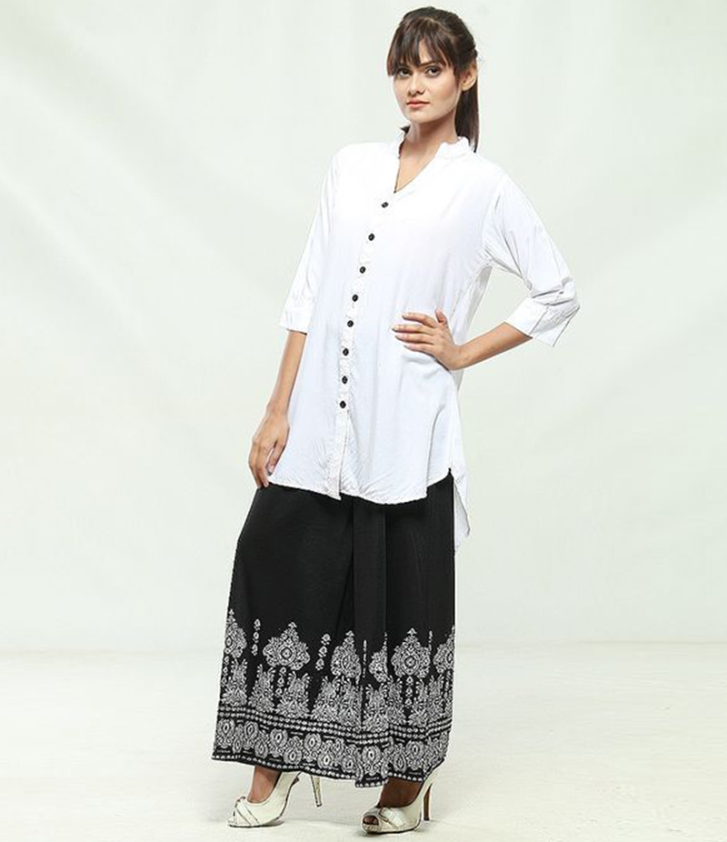 Women's V-Neck Shirt with Printed Plazzo. KKT-909