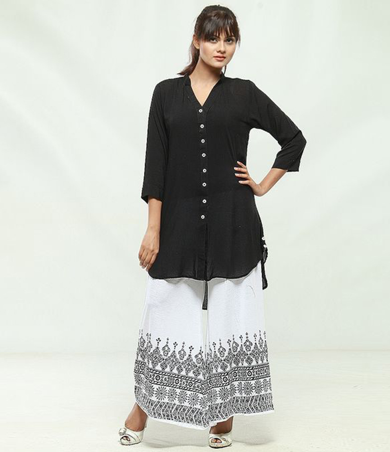 Women's V-Neck Shirt with Printed Plazzo. KKT-910
