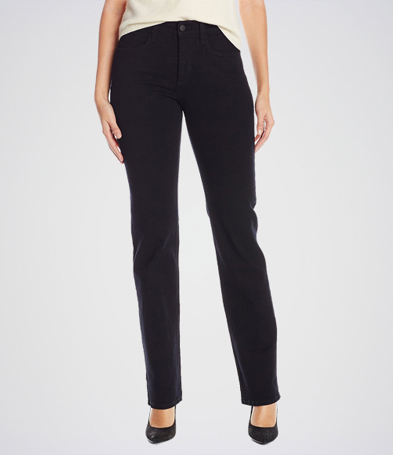 Women's Black Marilyn Straight Jeans. KT-01011