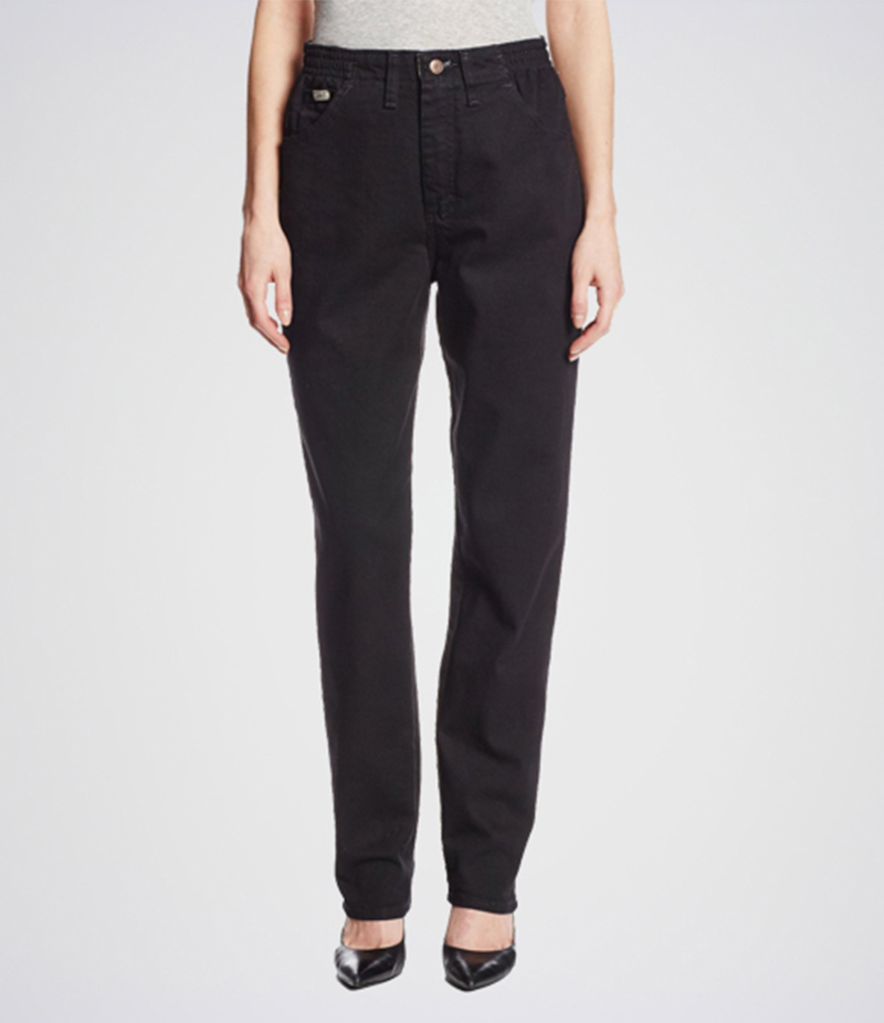 Women's Black Relaxed-Fit Tapered Leg Jeans. KT-01014