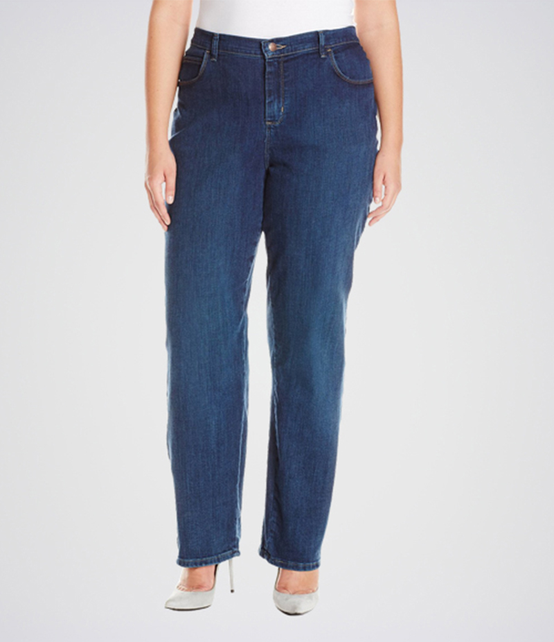 Women's Dark Blue Relaxed Fit Straight Leg Jeans. KT-01020