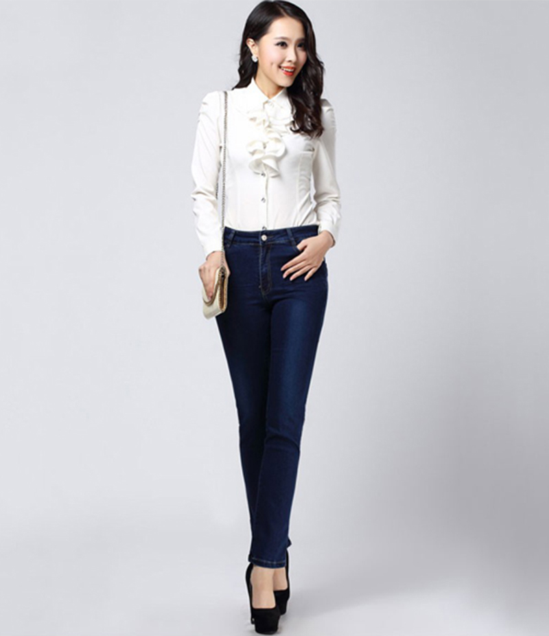 Women's Dark Blue Skinny Jeans. KTY-4850