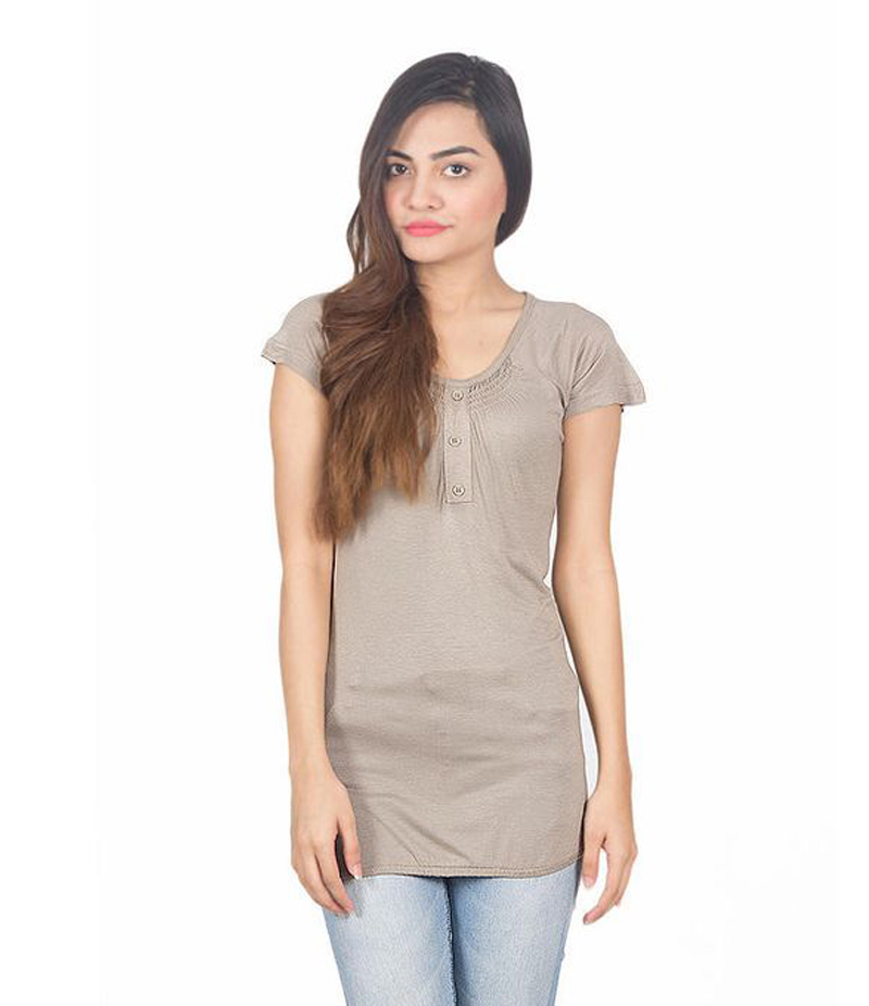 Women's Brown Viscouse Western Tunic With 3 Button Placket On Neck. KTY-92-BRN