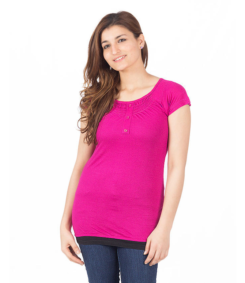 Women's Hot Pink Viscouse Western Tunic With 3 Button Placket On Neck. KTY-92-HPK
