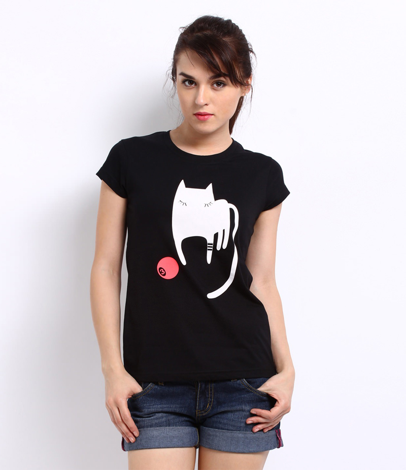 Women's Black Playing Cat Printed Cotton T-shirt. KTY-ADT1