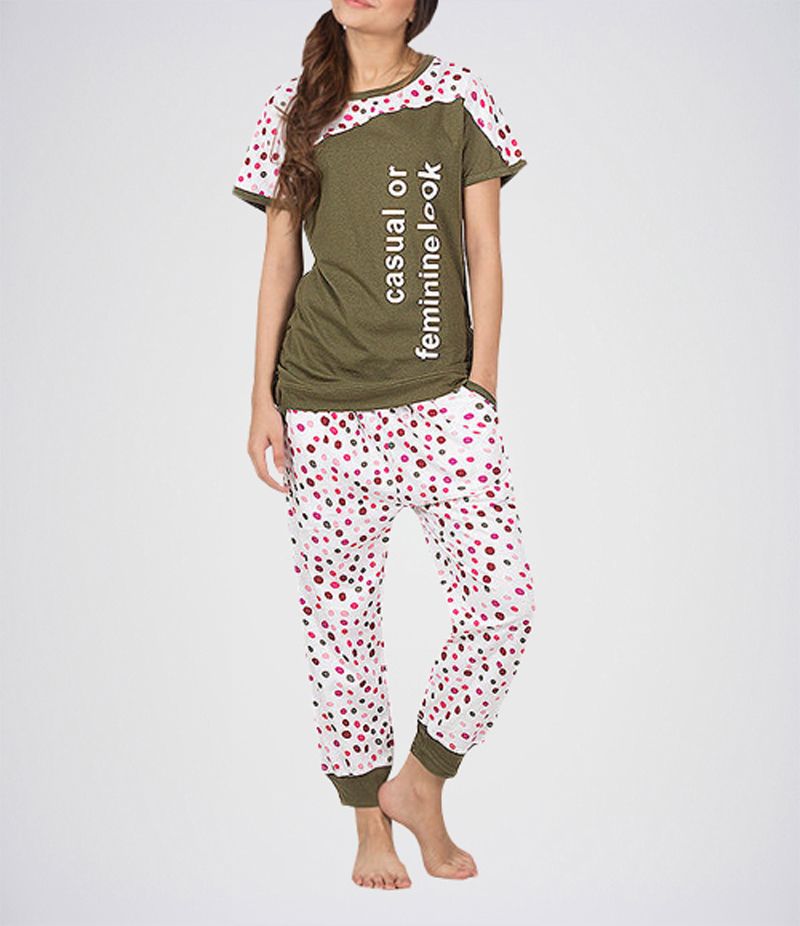 Women's Army Green Polka Dot Printed T-shirt + Dotted Capri. KTY-GCP02