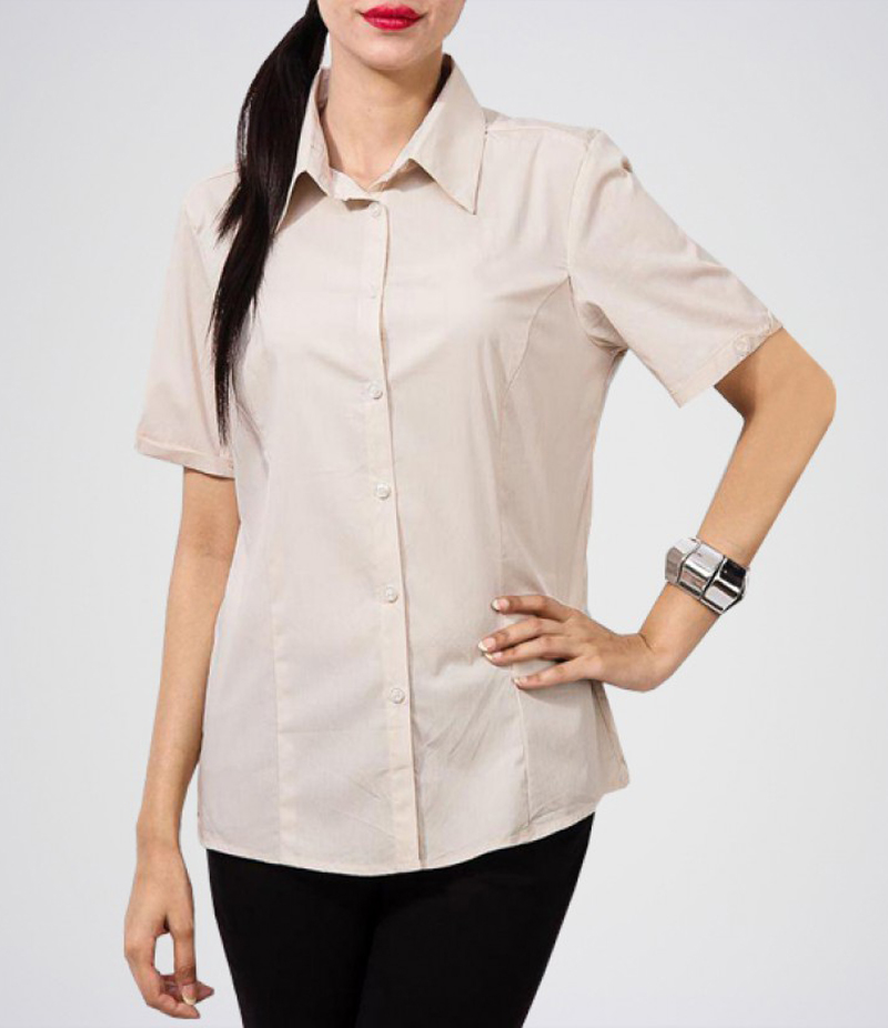 Women's Cream Button Down Cotton Shirt. KTY-CRM04