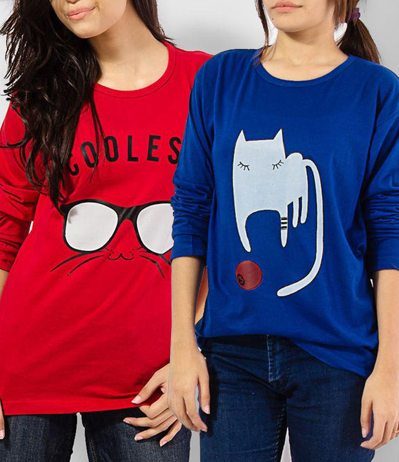 Women's Pack of 2 Printed T-shirts. KTY-FP2T191
