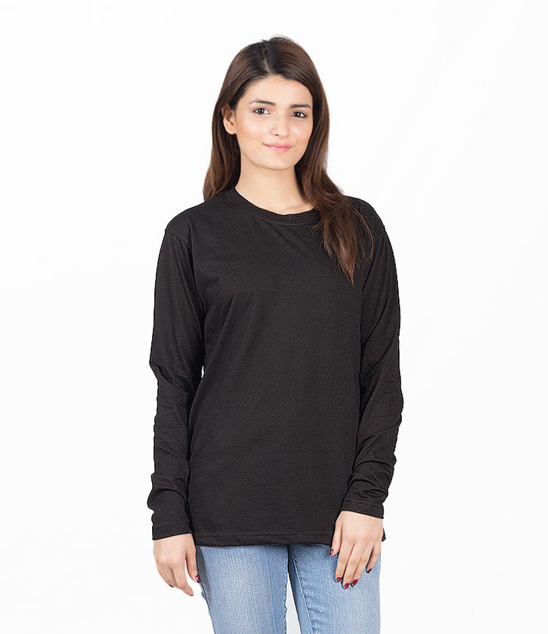 Women's Black Cotton Solid T-shirt. KTY-FT186