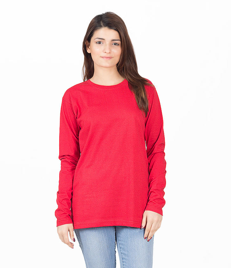 Women's Red Cotton Solid T-shirt. KTY-FT187
