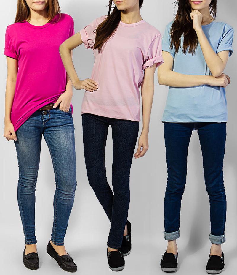 Women's Pack of 3 Cotton T-shirts. KTY-HTP31