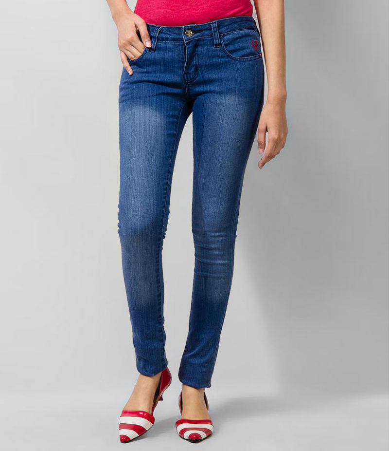 Women's Faded Blue Skinny Denim Jeans. KTY-J1916