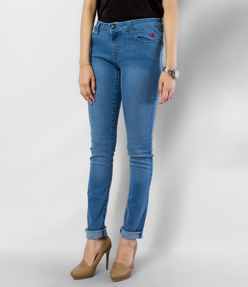 Women's Dark Blue Light Faded Skinny Denim Jeans. KTY-J1918