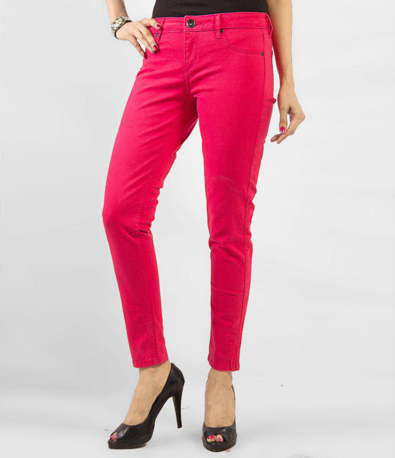 Women's Dark Pink Skinny Denim Jeans. KTY-J1919