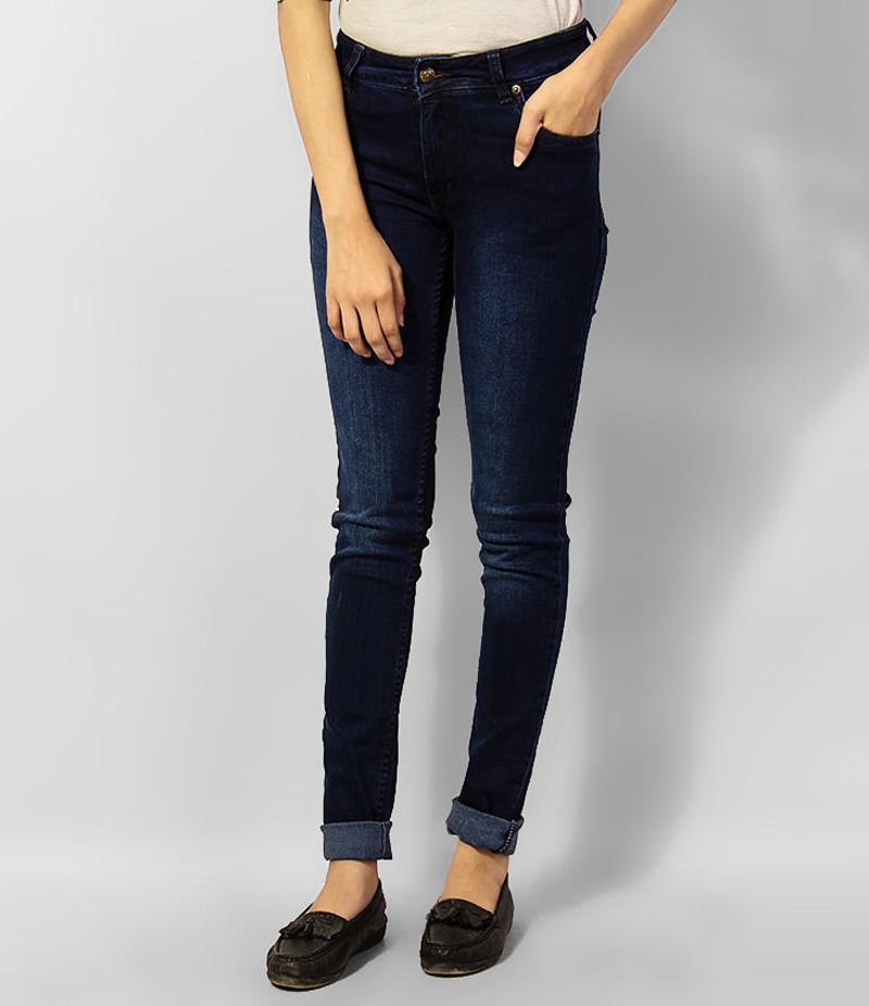 Women's Navy Blue Faded Skinny Denim Jeans. KTY-J1922